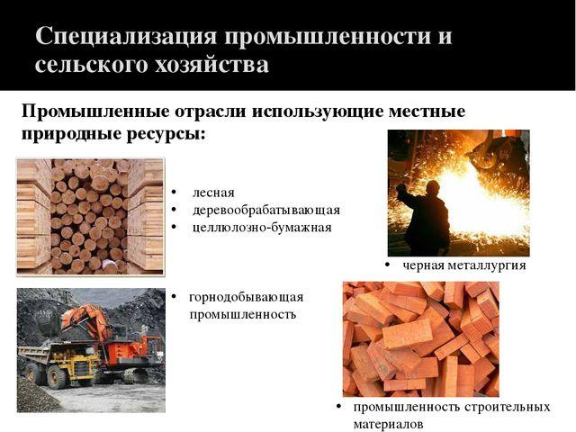 Специализация промышленности и сельского хозяйства Промышленные отрасли испол...