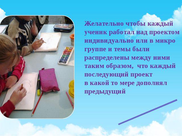 Желательно чтобы каждый ученик работал над проектом индивидуально или в микро...