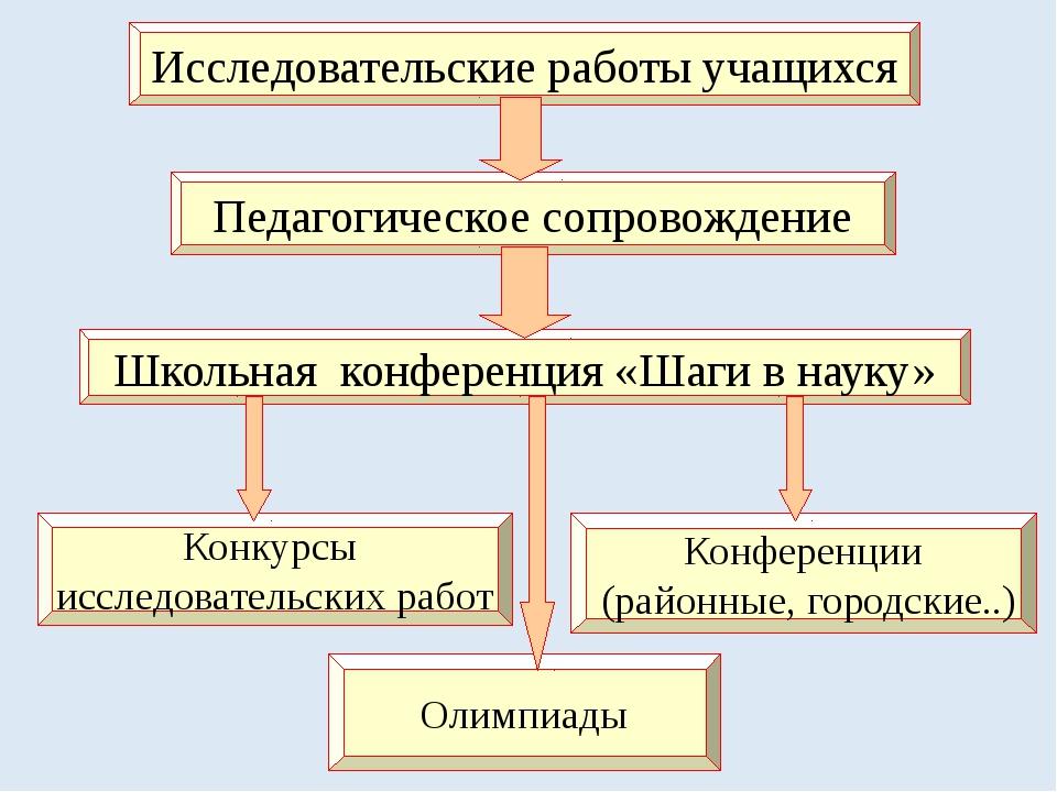 Исследовательские работы учащихся Педагогическое сопровождение Школьная конфе...