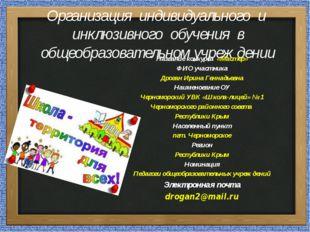 Организация индивидуального и инклюзивного обучения в общеобразовательном учр