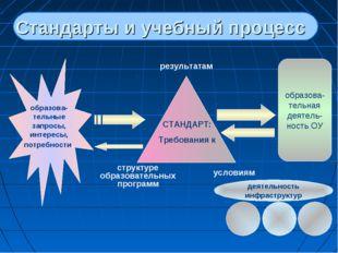 Стандарты и учебный процесс образова- тельные запросы, интересы, потребности,