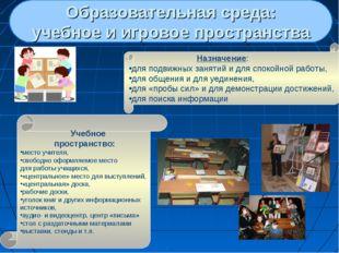 Образовательная среда: учебное и игровое пространства Назначение: для подви
