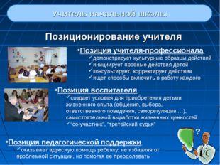 Позиционирование учителя Учитель начальной школы Позиция учителя-профессионал