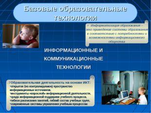 ИНФОРМАЦИОННЫЕ И КОММУНИКАЦИОННЫЕ ТЕХНОЛОГИИ Базовые образовательные технолог