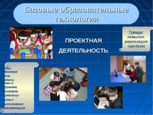 Базовые образовательные технологии ПРОЕКТНАЯ ДЕЯТЕЛЬНОСТЬ Триада: замысел- -р