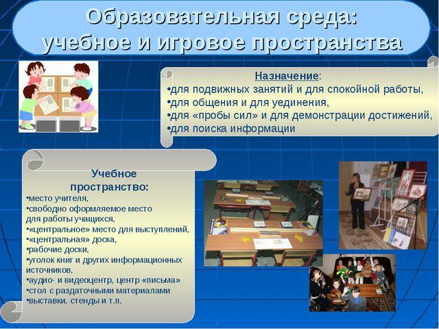 Образовательная среда: учебное и игровое пространства Назначение: для подви...