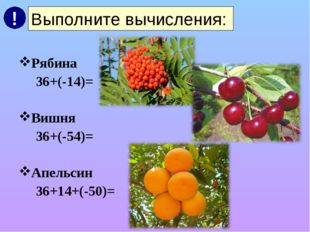 Рябина 36+(-14)= Вишня 36+(-54)= Апельсин 36+14+(-50)= Выполните вычисления: !