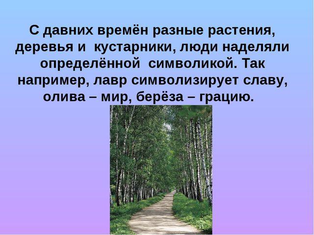 С давних времён разные растения, деревья и кустарники, люди наделяли определё...