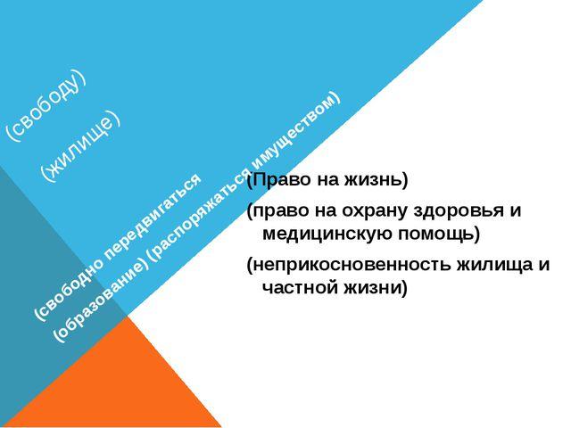(свободу) (жилище) (Право на жизнь) (право на охрану здоровья и медицинскую п...
