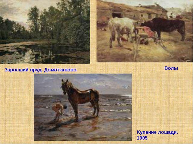 Заросший пруд. Домотканово. 1888 Купание лошади. 1905 Волы