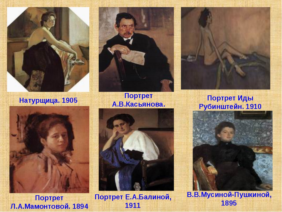 Портрет Иды Рубинштейн. 1910 Портрет А.В.Касьянова. 1907 Натурщица. 1905 Порт...