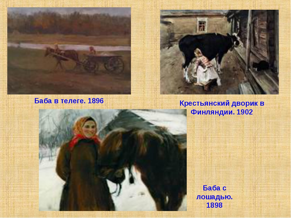 Баба в телеге. 1896 Крестьянский дворик в Финляндии. 1902 Баба с лошадью. 1898
