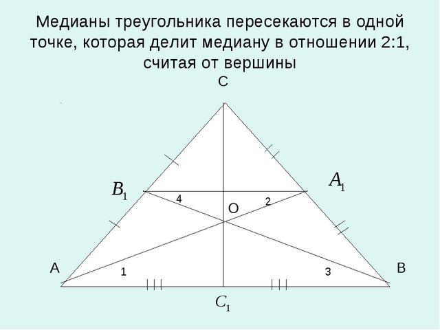 Медианы треугольника пересекаются в одной точке, которая делит медиану в отно...