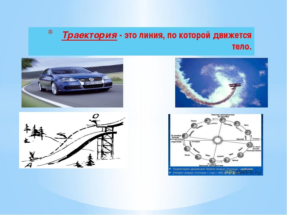 Траектория - это линия, по которой движется тело.