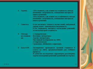 * * 6Задачи.1.Исследовать, как влияет на сходимость метода изменение погреш