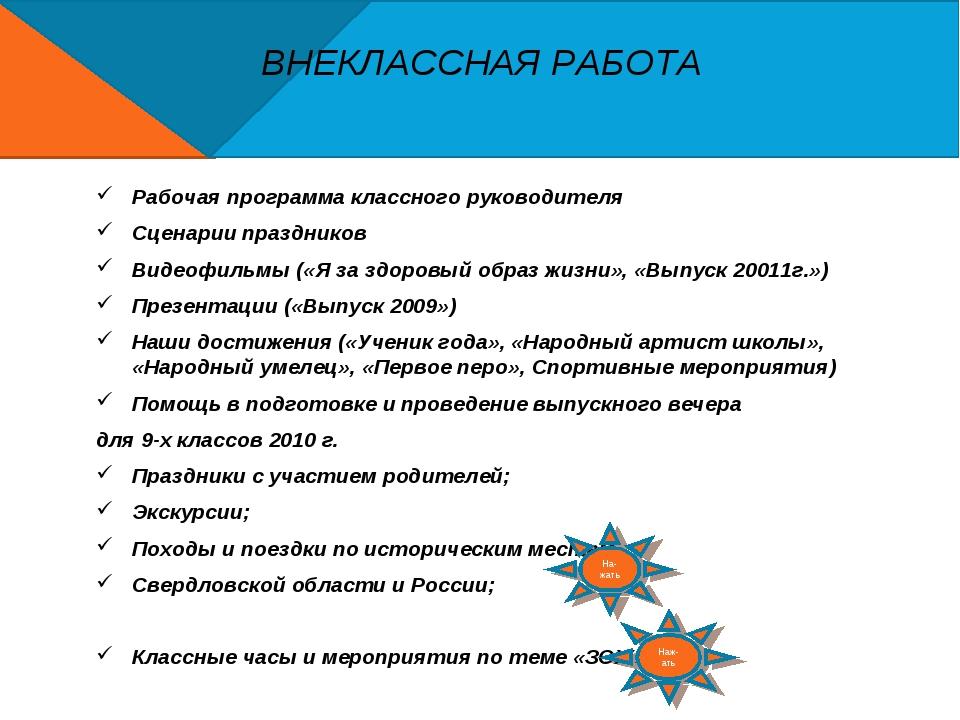 ВНЕКЛАССНАЯ РАБОТА Рабочая программа классного руководителя Сценарии праздник...