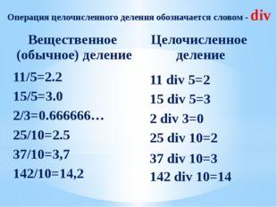 Операция целочисленного деления обозначается словом - div 11 div 5=2 15 div 5