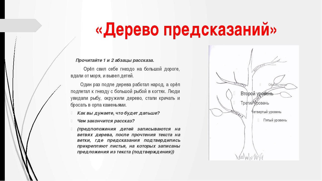 «Дерево предсказаний» Прочитайте 1 и 2 абзацы рассказа. Орёл свил себе гнездо...