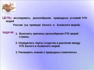 ЦЕЛЬ: исследовать разнообразие природных условий ПТК морей России (на примере