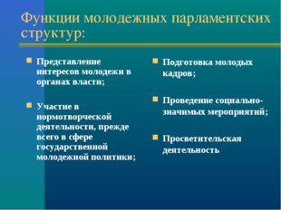 Функции молодежных парламентских структур: Представление интересов молодежи в