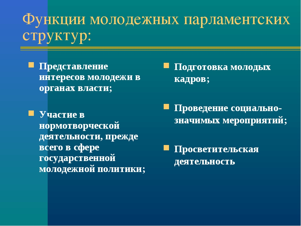 Функции молодежных парламентских структур: Представление интересов молодежи в...
