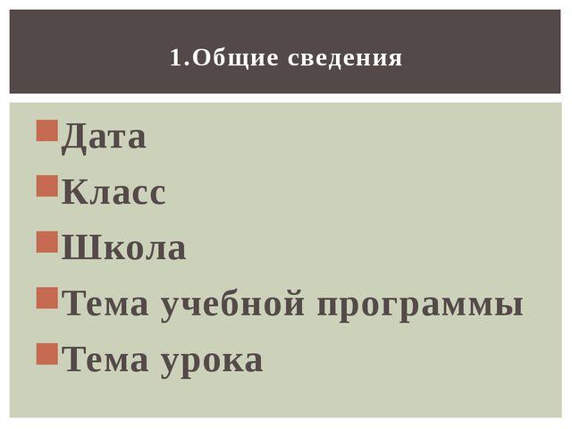 Дата Класс Школа Тема учебной программы Тема урока 1.Общие сведения