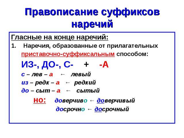 Правописание суффиксов наречий Гласные на конце наречий: Наречия, образованны...