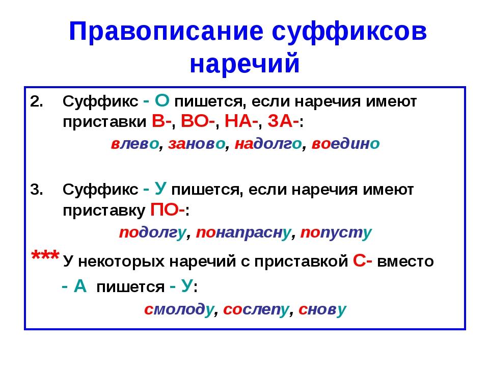 Правописание суффиксов наречий Суффикс - О пишется, если наречия имеют прист...