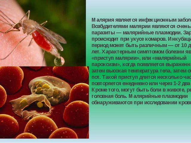 Малярия является инфекционным заболеванием. Возбудителями малярии являются оч...