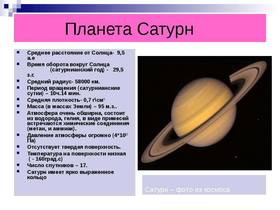Планета Сатурн Среднее расстояние от Солнца- 9,5 а.е Время оборота вокруг Со...