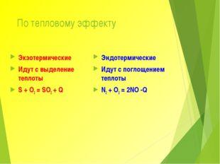По тепловому эффекту Экзотермические Идут с выделение теплоты S + O2 = SO2 +