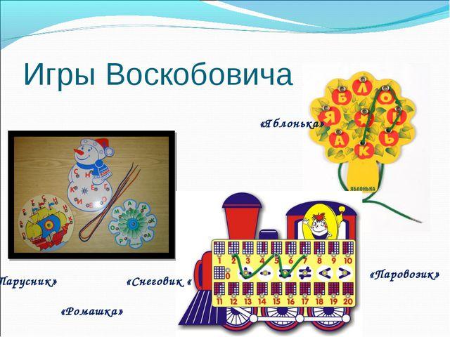 Игры Воскобовича «Парусник» «Снеговик « «Ромашка» «Яблонька» «Паровозик»
