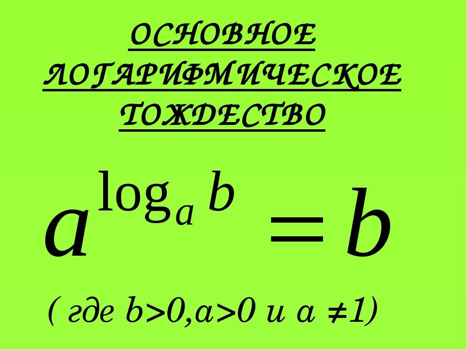 ОСНОВНОЕ ЛОГАРИФМИЧЕСКОЕ ТОЖДЕСТВО ( где b>0,a>0 и a ≠1)