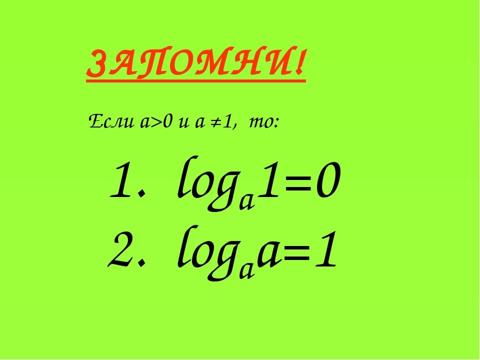 ЗАПОМНИ! Если a>0 и a ≠1, то: