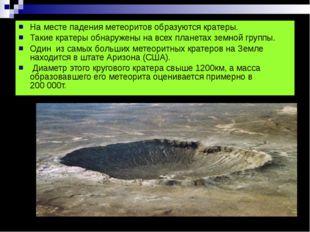 На месте падения метеоритов образуются кратеры. Такие кратеры обнаружены на в