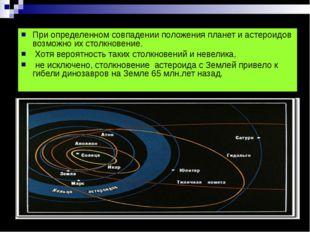 При определенном совпадении положения планет и астероидов возможно их столкно