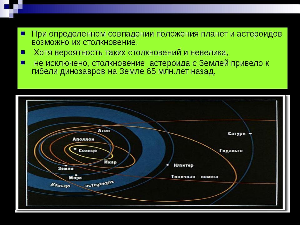 При определенном совпадении положения планет и астероидов возможно их столкно...