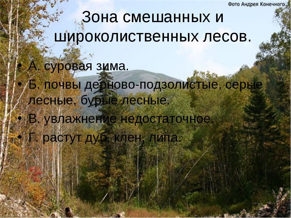 Зона смешанных и широколиственных лесов. А. суровая зима. Б. почвы дерново-по...