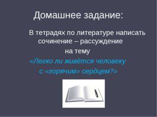 Домашнее задание: В тетрадях по литературе написать сочинение – рассуждение н