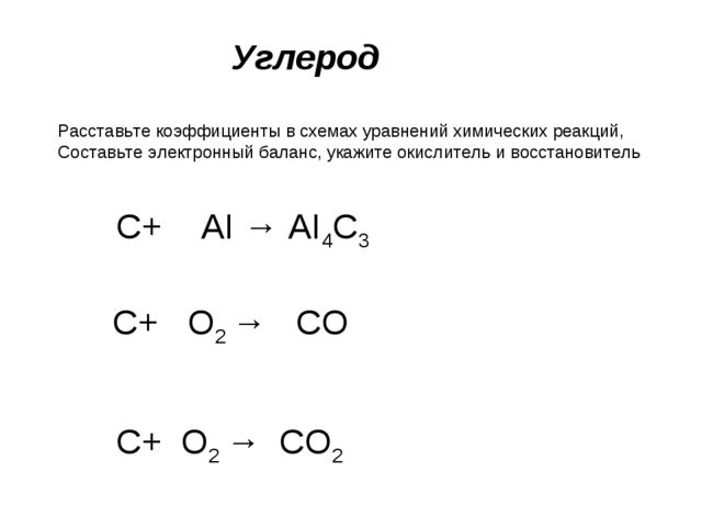 Углерод Расставьте коэффициенты в схемах уравнений химических реакций, Состав...