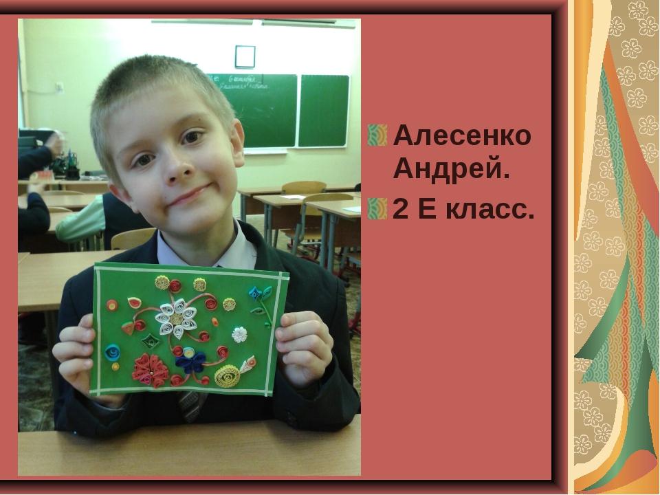 Алесенко Андрей. 2 Е класс.