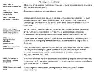 Проверяем таблицу 1801г. Указ о политической амнистииОфицеры и чиновники уво