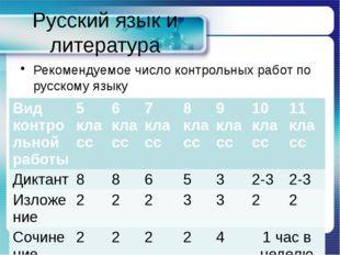 Русский язык и литература Рекомендуемое число контрольных работ по русскому я