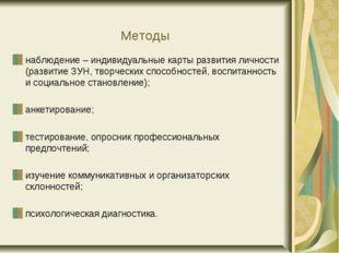 Методы наблюдение – индивидуальные карты развития личности (развитие ЗУН, тво