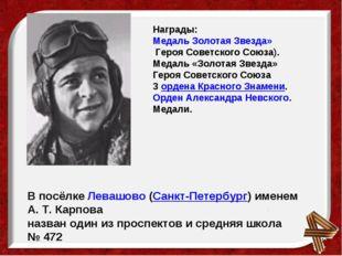 Награды: Медаль Золотая Звезда»Героя Советского Союза). Медаль «Золотая Звез