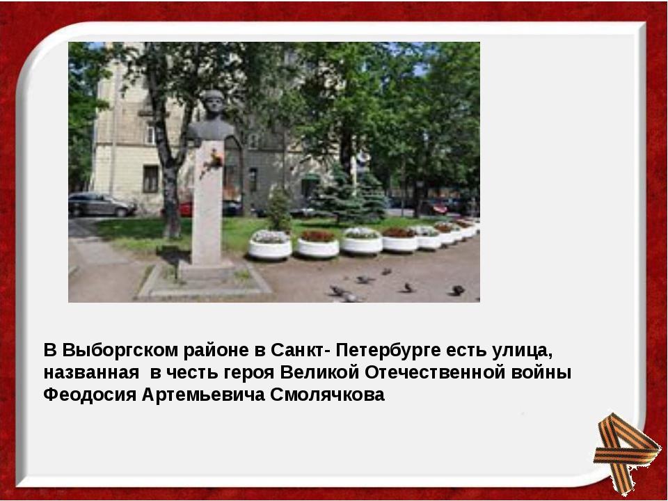 В Выборгском районе в Санкт- Петербурге есть улица, названная в честь героя В...