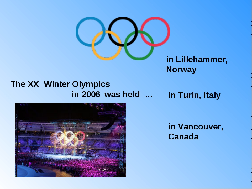 The XX Winter Olympics in 2006 was held … in Lillehammer, Norway in Turin,...
