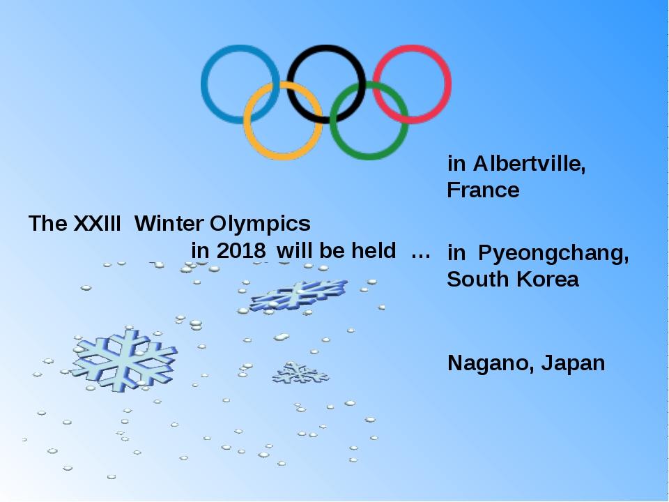 The XXIII Winter Olympics in 2018 will be held … in Albertville, France in ...