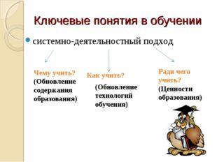 Ключевые понятия в обучении системно-деятельностный подход Чему учить? (Обнов