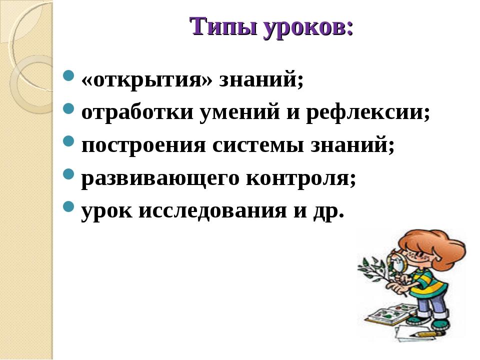 Типы уроков: «открытия» знаний; отработки умений и рефлексии; построения сис...